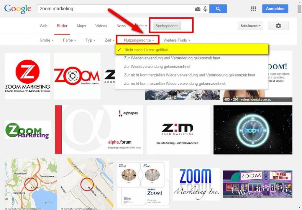 Google Bildersuche Beispiel ohne Filter