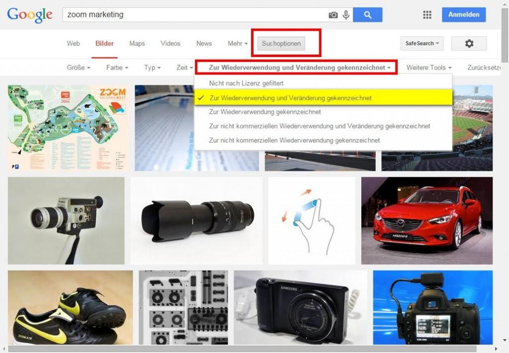 Google Bildersuche mit Lizenzfilter