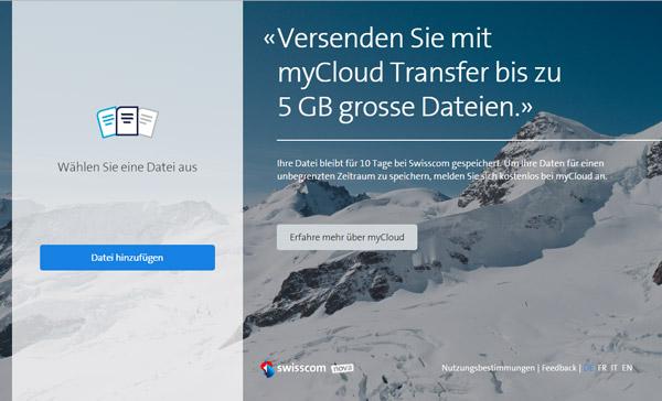 Swisscom mycloud transfer